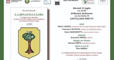 """Domani 14 luglio presentazione del libro """"La dinastia Ulmo"""" inserito nella linea editoriale """"Leggi la Puglia"""""""