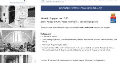 """Parte domani il tour itinerante nelle cinque città universitarie del progetto regionale """"Puglia Regione universitaria"""""""
